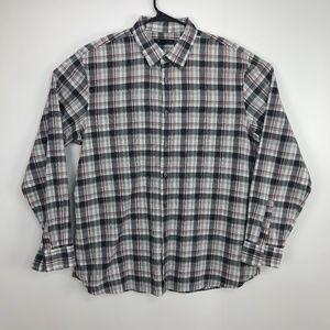 John Varvatos Check Button Down Shirt Gray Size XL